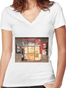 Puzzle painting Separated Couples Women's Fitted V-Neck T-Shirt