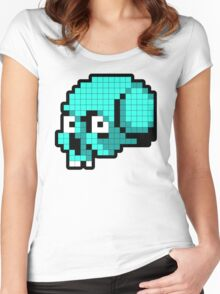 8 Bit Skull - Turquoise Women's Fitted Scoop T-Shirt
