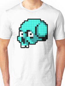 8 Bit Skull - Turquoise Unisex T-Shirt