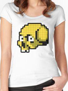 8 Bit Skull - Yellow Women's Fitted Scoop T-Shirt