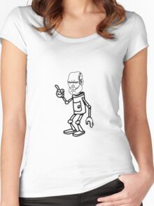 Robot monster cool attention fun comic Women's Fitted Scoop T-Shirt