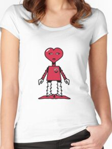 Robot woman's heart Romance love Women's Fitted Scoop T-Shirt
