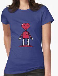 Robot woman's heart Romance love Womens Fitted T-Shirt