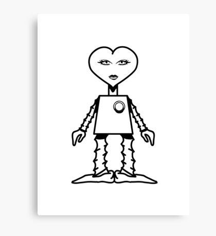 Robot woman's heart Romance love Canvas Print