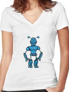 Cool funny robot toy fun Women's Fitted V-Neck T-Shirt