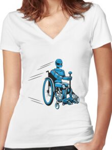 Cool funny robot wheelchair funny Women's Fitted V-Neck T-Shirt