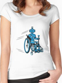 Robot cool humorous light wheelchair funny Women's Fitted Scoop T-Shirt