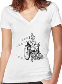 Robot cool humorous light wheelchair funny Women's Fitted V-Neck T-Shirt