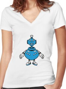 Robot cool funny PEAR fat funny Women's Fitted V-Neck T-Shirt
