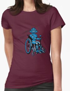 Robot cool tired funny funny wheelchair Womens Fitted T-Shirt