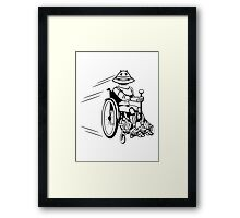 Robot cool tired funny funny wheelchair Framed Print