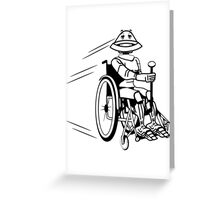 Robot cool tired funny funny wheelchair Greeting Card