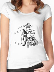 Robot cool tired funny funny wheelchair Women's Fitted Scoop T-Shirt
