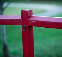 Cross on Red Post by SparkleTrees