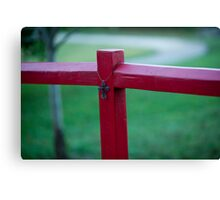 Cross on Red Post Canvas Print