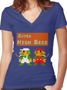 Super High Bros! Women's Fitted V-Neck T-Shirt