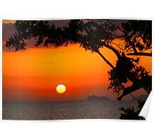Cruise Ship Sailing in Morning Sun Poster