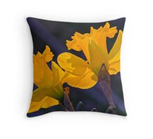Daffodils in the setting sun.  ( 2 ) Throw Pillow