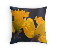 Daffodils in the setting sun. Throw Pillow