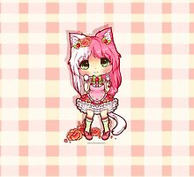 Kawaii Chibi Cherry Cat Girl by NeonBry