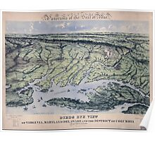 Civil War Maps 1237 Panorama of the seat of war Birds eye view of Virginia Maryland Delaware and the District of Columbia Poster