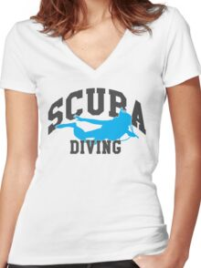 Scuba Diving Women's Fitted V-Neck T-Shirt