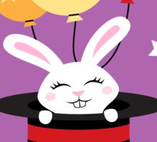 Rabbit in magicians hat with balloons and stars Sticker