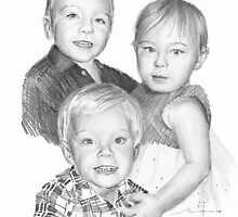 Baby siblings drawing by Mike Theuer