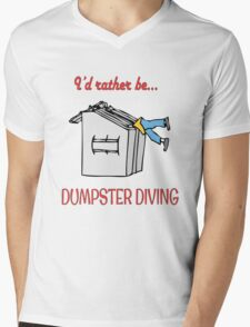I'd rather be dumpster diving (red type) Mens V-Neck T-Shirt