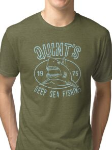Quints Deep Sea Fishing Distressed Tri-blend T-Shirt
