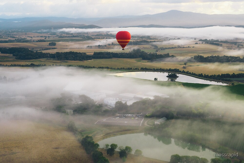 Hot Air Balloon At Sunrise, Yarra Valley, Australia by massrapid