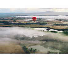 Hot Air Balloon At Sunrise, Yarra Valley, Australia Photographic Print