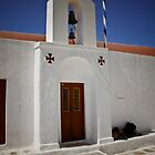 Church on Mykonos  with a sleepy visitor by KSKphotography