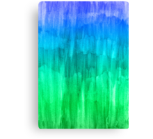 Turquoise, Lime & Indigo Watercolor Abstract Canvas Print