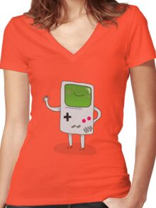 Cute Gameboy T-shirt Women's Fitted V-Neck T-Shirt
