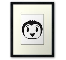 Sweet little Penguin child baby face Framed Print