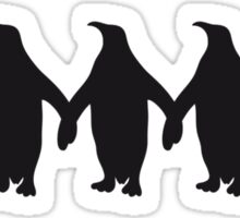 Penguins chain hands holding pattern fun Sticker