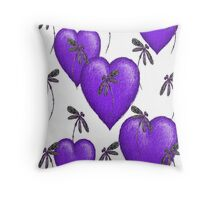 Love Hearts and Dragonflies Purple Throw Pillow