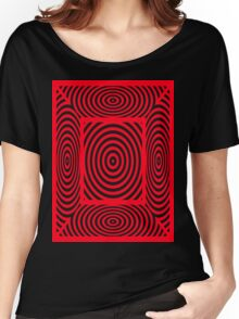 Red Round Circular Vortex And Spiders Webs T Shirt Design By Chris McCabe Women's Relaxed Fit T-Shirt