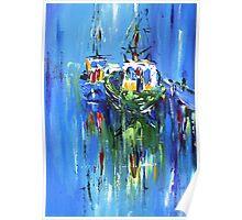 Semi abstract boats Poster