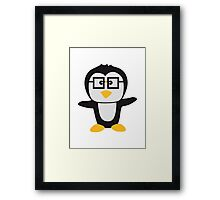 Funny cute nerd geek swag Penguin child Framed Print