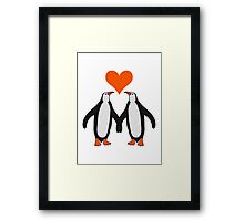 Love couple heart love penguins Framed Print