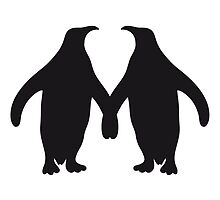 Love couple silhouette in love 2 penguins by Style-O-Mat