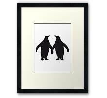 Love couple silhouette in love 2 penguins Framed Print
