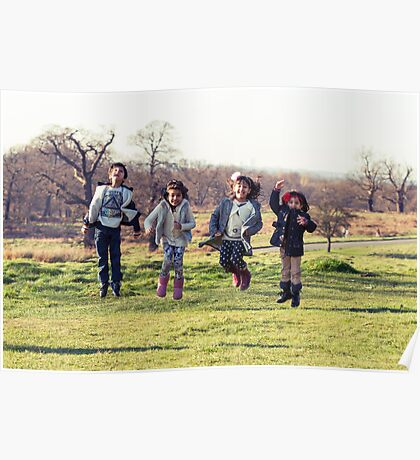 Group of kids jumping Poster