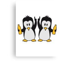 Drunk drinking party team 2 penguins Canvas Print