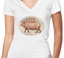 Vintage Mama Pig with Her Piglets Women's Fitted V-Neck T-Shirt
