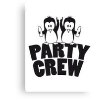 Drunk drinking party crew team 2 penguins Canvas Print