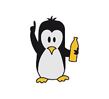 Drunk drinking beer party Penguin Photographic Print