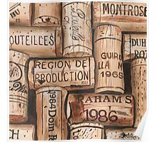 Vintage French Wine Corks Poster